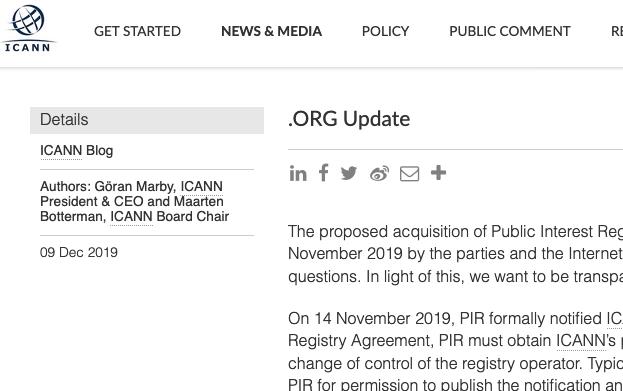 Ethos Capital frenata dall'ICANN: trattativa per l'estensione .org rinviata (News)